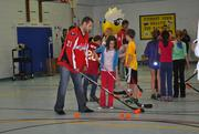 Washington Capitals forwards Brooks Laich (shown) and Alexander Semin, and assistant coach Bob Woods and mascot Slapshot, visited Kent Gardens Elementary School in McLean on Nov. 2 to host the Capitals Hockey School.