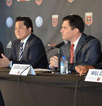 D.C. United announced that Erick Thohir, left, and Jason Levien have joined William Chang as co-owners of the pro soccer team.
