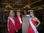 Miss Virginia Elizabeth Crot, from left; Linda Mathes, CEO of the Red Cross in the National Capital region; keynote speaker Simona Foster-Jackson, a veteran of the U.S. Army and a member of Wounded Warriors; and Miss Maryland Carlie Colella.