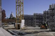 Storage racks hold marble panels.