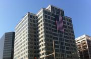 """American flags decorate office buildings in  Rosslyn as businesses participate in """"Flags Across Rosslyn"""" to  commemorate the 11th anniversary of the 9/11 terrorist attacks."""