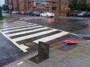 Heavy winds took down stop signs during Hurricane Irene.