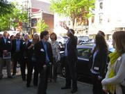 Women In Retail Real Estate took to 14th Street last week for a tour of everything new and under construction with Andrew Poncher of StreetSense. The event kicked off at Rippeteau Architect PC's LEED Gold office in the 1500 block, and took in The JBG Cos.' District at 1401 S St., and Louie at 14th at 1920 14th St. The tour ended at Masa 14.