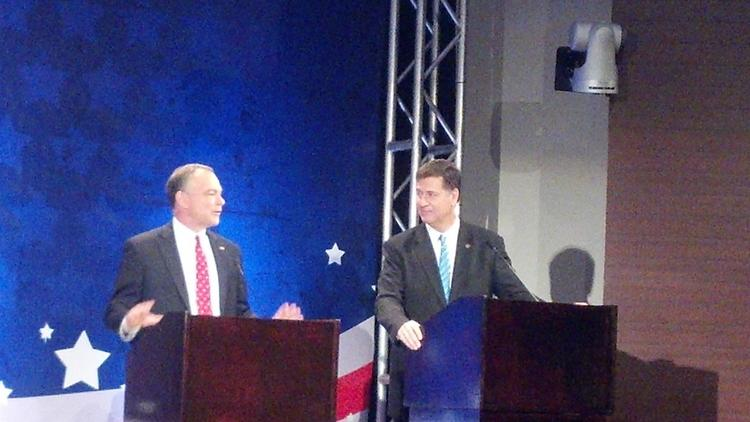 Democrat Tim Kaine and Republican George Allen faced off Thursday in their first televised debate of their U.S. Senate race.