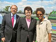 The Washington Kastles showed off their new waterside location during a VIP June 14 dedication ceremony. From left, Kastles Owner Mark Ein with World TeamTennis Founder Billie Jean King and Gina Adams of FedEx, recently back from the French Open herself.