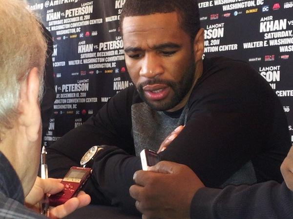 "Hometown boxer Lamont Peterson speaks to the media Thursday at the news conference announcing his Dec. 10 fight with Amir ""King"" Khan."