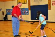 Washington Capitals ambassador and alum Rod Langway (shown) and fellow alum Paul Mulvey visited Haycock Elementary School in Falls Church on April 11 to host Capitals Hockey School. The alums taught hockey basics to the students.
