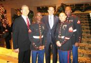 The Fairmont Washington, D.C. got into the holiday spirit Nov. 30 with its 8th annual tree lighting ceremony. Mark Andrew, general manager and regional vice president for the Fairmont, and D.C. Mayor Vincent Gray posed at the celebration with U.S. Marine Corps Sgts. Joshua Quill and Jeremy Burrow and Gunnery Sgt. James Sirmones.