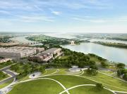 The view south from the Monument, overlooking the Monument Lodge, oculus, Sylvan Theater & Bandshell, survey lodge and link to the Tidal Basin.