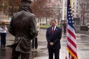 Secretary of Defense Leon Panetta visited the United States Naval Memorial Dec. 7 for the 70th anniversary of Pearl Harbor Remembrance Day. Panetta participated in a wreath laying ceremony at the Lone Sailor statue on the U.S. Navy Memorial plaza.