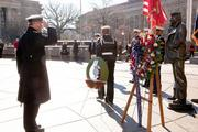 Prince Andrew, Duke of York was in Washington Dec. 1 for the Centennial of Naval Aviation wreath laying ceremony. Prince Andrew presented a wreath and saluted the statue of the Lone Sailor.