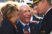 Prince Andrew greeted Medal of Honor recipient Thomas Hudner, center, retired Navy Capt., and his wife, Georgea Hudner.