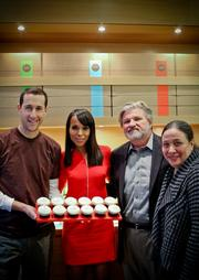 Sprinkles Cupcakes co-founder Charles Nelson, from left, actress and arts advocate Kerry Washington, Americans for the Arts President and CEO Robert Lynch and Americans for the Arts Vice President of Leadership Alliances Nora Halpern gathered at Sprinkles Cupcakes in Georgetown on Oct. 29 in support of arts education.
