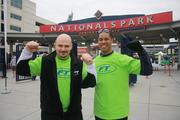 """For the last two years, Rob Graveline, left, owner of Fitness Together  in Tysons, and Ken Clarke, owner of Fitness Together in Silver Spring,  have spearheaded a fundraising campaign for the American Diabetes  Association's annual """"Step Out"""" walk to stop diabetes. They showed their  guns at Nationals Park during October 2011's Step Out walk.See more photos from the Nov. 28, 2011 edition of The Back Page Extra."""