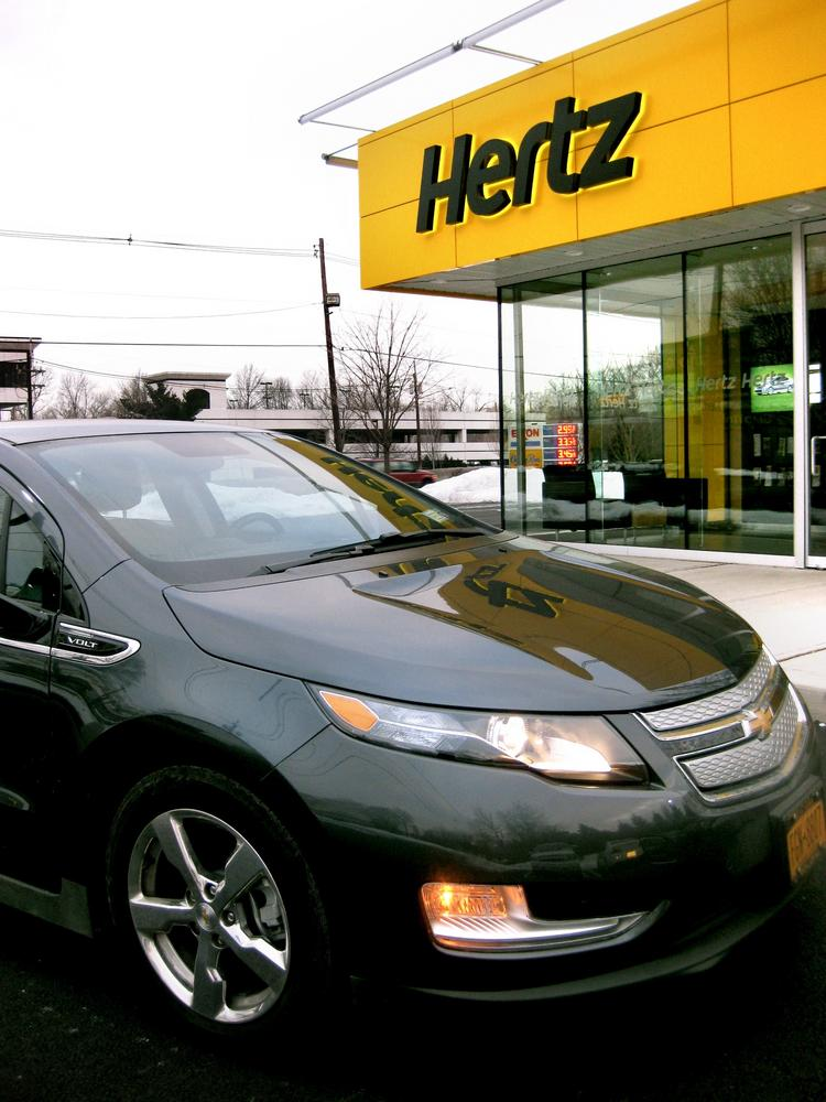 Hertz is adding electric vehicles like the Chevy Volt, seen here, to its fleet at Union Station in D.C.