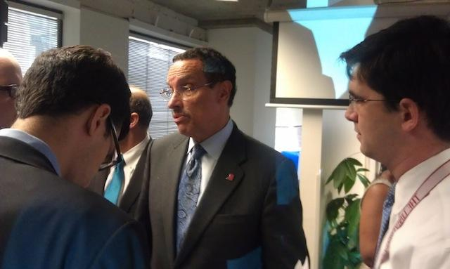 D.C. Mayor Vincent Gray speaks to media at Fortify Ventures' The Fort after a speech in support of new tech tax breaks.