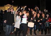 Crowds cheer outside the White House as election night news came to their iPhones.