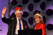 Before passing on their titles as King and Queen of the Ball, Terry Perry of Wisnewski Blair & Associates with Barbara Magistro of GTM Architects.