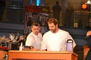 Battling Jeff Black during the first round, Haidar Karoum, left, executive chef of Proof, with his sous chef.
