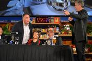 As chefs battle, Jose Andres, left, chef and owner of ThinkFoodGroup; Joan Nathan, award-winning cookbook author; Ted Allen, host of 'Chopped'; and Anthony Bourdain, host of the Travel Channel's 'No Reservations' discuss the dishes being prepared.