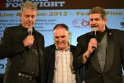 From left, Anthony Bourdain, Jose Andres and Mark Kessler, the voice of the Redskins who also emceed the battle.