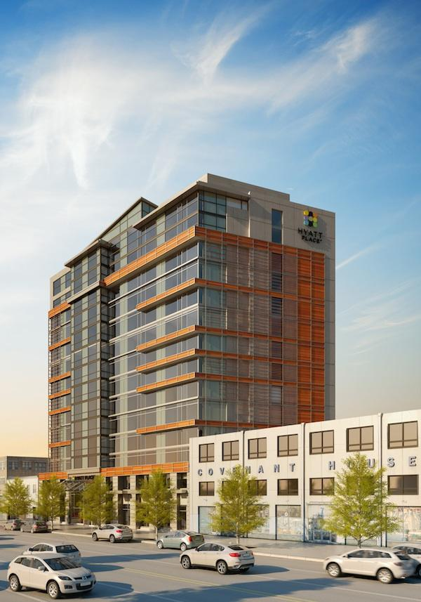 A 200-room Hyatt Place hotel will be the first component to emerge from  The JBG Cos.' Capitol Square project in NoMa. (Courtesy Cooper Carry)