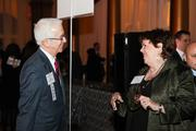 Alex Orfinger of the Washington Business Journal greets Rosemary McDowell of Rosemary McDowell International.