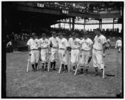 Star player, 1933: Joe Cronin, signed for $7,500. Cronin is pictured here, second from left, in 1937 when, as a member of the Boston Red Sox, he returned to Griffith Stadium to play in the All-Star Game.