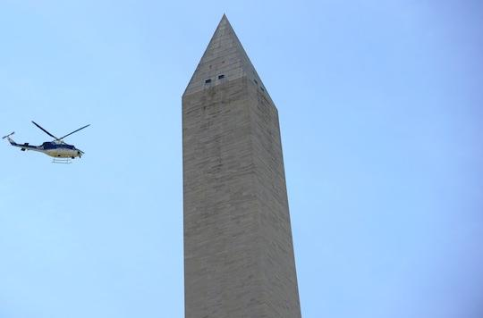 Engineers surveyed damages to the Washington Monument following the earthquake on Tuesday.