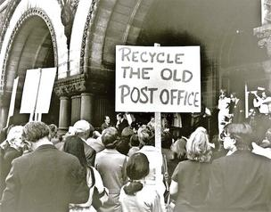 Protesters affiliated with Don't Tear it Down, which later became the D.C. Preservation League, rally in 1971 to save the Old Post Office.