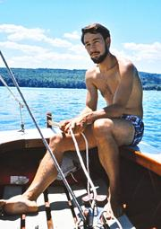 Stephen Fuller at 26 on his first sailboat, a 16-foot Comet, which he bought for $275.