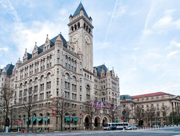 The clock tower at the Old Post Office Pavilion will remain open to the public under Donald Trump's proposal.