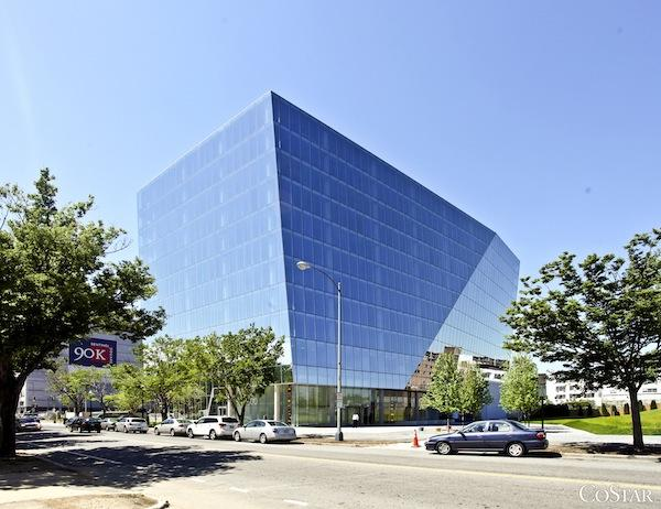 The origami-shaped building at 1100 First St. NE, designed by Chicago-based Krueck & Sexton, helps break up NoMa's previous architectural monotony.
