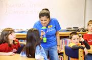 Spanish teacher Johanna Barrantes belts out a lesson at Churchill Road Elementary School in McLean.
