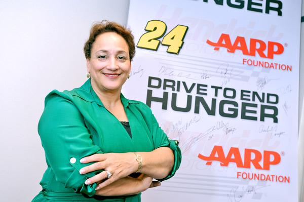 AARP Foundation President Jo Ann Jenkins led an effort to bring Jeff Gordon and his NASCAR fans into the fight against hunger among 50-plus Americans.