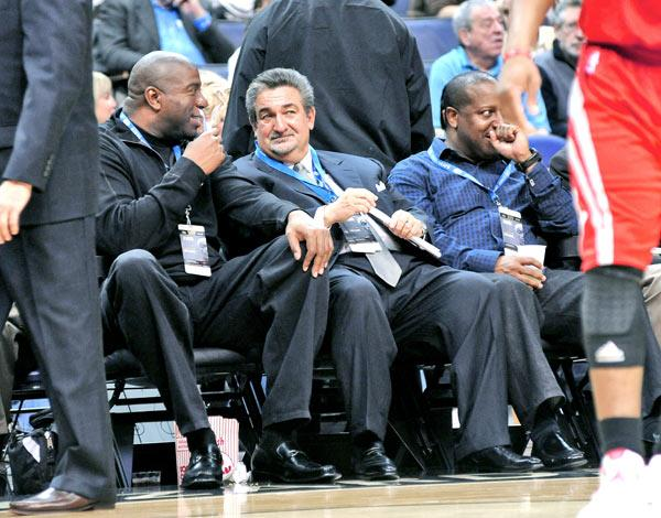 """Ted Leonsis takes in a game with former basketball great Earvin """"Magic"""" Johnson. The owner of Washington's Wizards and Capitals franchises says the Verizon Center """"is one of the loudest, most passionate buildings in the league."""""""