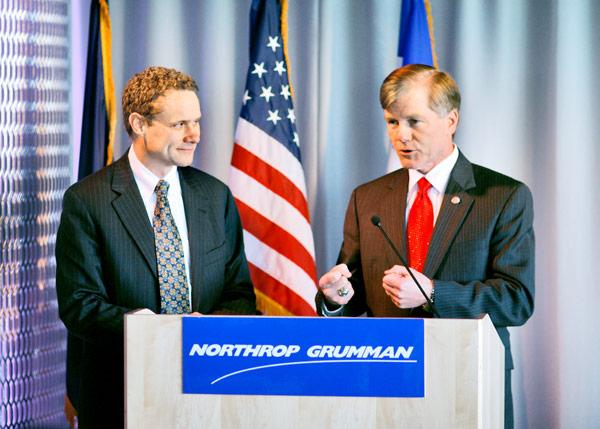 Northrop Grumman CEO Wes Bush, left, and Virginia Gov. Bob McDonnell announce in April the company's move to Fairfax County.