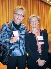 LaBelle, left, with Helen Haerle of Quadrangle Development.