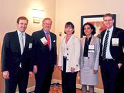 Commercial Real Estate Women of Washington, D.C. assembled a panel of experts to discuss commercial lending trends in 2012 at CREW D.C.'s monthly luncheon. The panel included from left, Bryan McDonnell of Prudential Mortgage Capital, Rick Lyon of Capital One Bank, Grace Huebscher of Beech Street Capital and Brian Gould of The JBG Cos., here with CREW D.C. President Sadhvi Subramanian of Capital One. The event, held March 22 at the Capital Hilton in D.C., offered some of region's biggest lenders  a chance to share their insights on volume, terms  and pricing.