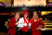 Cupid was on hand Feb. 14 (go figure) for The Coffee Bean & Tea Leaf's grand opening in the Washington Hilton. The location is the brand's first store in D.C. Joining him were Joelle Niemaszyk, left, and Kristen Newstrom, both of the Washington Hilton.