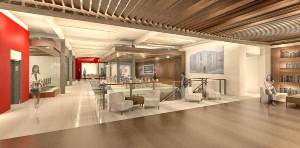 The District Architecture Center's reception area will include two video screens detailing the daily activities of the center, as well as those of its subtenant AllianceFrancaise de Washington.