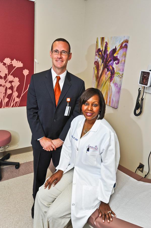 Doctors Hospital executive Scott Gregerson and Dr. Regina Hampton want to establish a hospital-based breast cancer center.