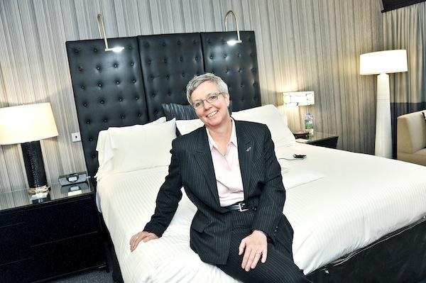 Claudia Eggspuhler shows off the newly revamped rooms at The Liaison Capitol Hill, which just finished a $6 million renovation.