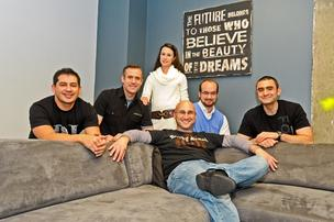 The Fortify team at The Fort on K Street NW. Founder and General Partner Jonathon Perrelli is seated in the front with, left to right, Eric Ayala, Adam Fazackerley, Carla Valdes, David Lide and Dave Sandrowitz.