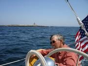 Stephen Fuller n 2009, sailing off the coast of Maine, where he has a second home.