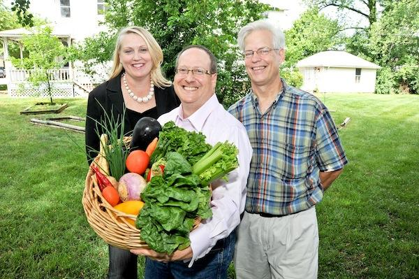 Geppetto Catering CEO Josh Carin, center, is joining with Jim Coleman of Fresh Vista Farm Markets to supply local produce to tenants in Debbie Webb's Tower Cos. office buildings.