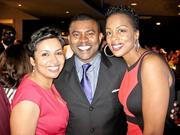 Sportscaster Lou Holder with WTTG-Channel 5's Allison Seymour, left,  and Micheline Bowman.