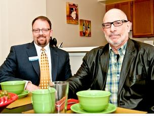 Jared Fast, right, and other senior services consultants are creating a group to do business with assisted living facilities such as Jonathan Ellis' Springhouse.