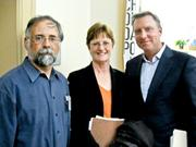 From left, Ken Pilpel and Judy Stephenson of Officepro and Sig Behrens of Microsoft.