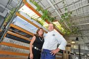 Nancy Goodman and Joel Thevoz use an aquaponics system— part  aquaculture and part hydroponics — to provide vegetables and fish for  Main Event Caterers.